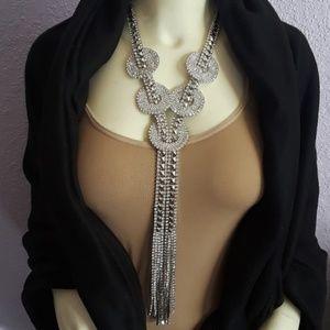 """Necklace w/ 2"""" Circular Rhinestone Pieces & Tassel"""
